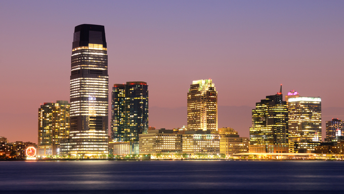Exchange place in Jersey City, New Jersey.