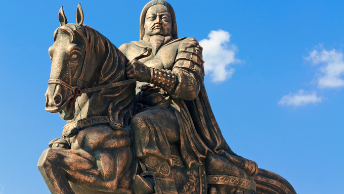 Statue of Genghis Khan at the Mausoleum, Ordos, Inner Mongolia, China