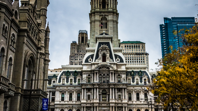 Broad Street  and City Hall, in Philadelphia, Pennsylvania.