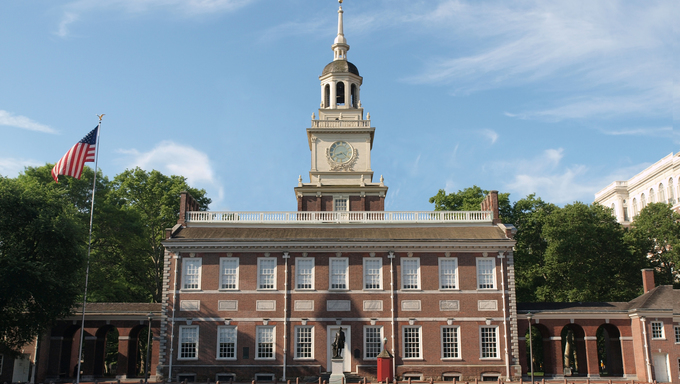 Independence Hall in Philadelphia Pennsylvania on a sunny morning.