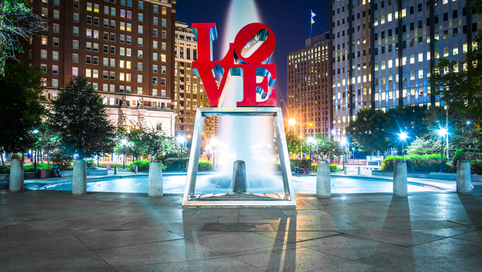 LOVE Park at night, in Center City, Philadelphia, Pennsylvania.