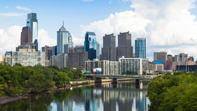 Skyline view of Philadelphia, Pennsylvania.