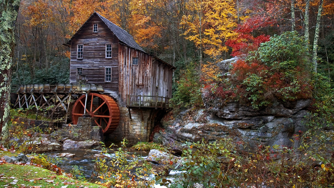 October autumn colors surround this mill in Virginia. A very popular destination for tourism in the fall.