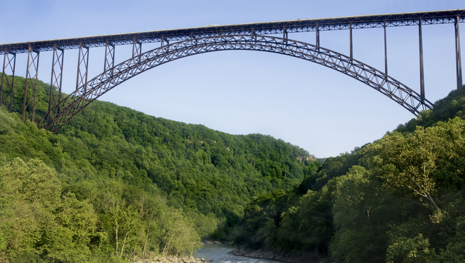 A beautiful view of the New River Gorge Bridge.