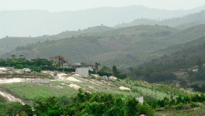 Hazy mountain ridges in Haiti.