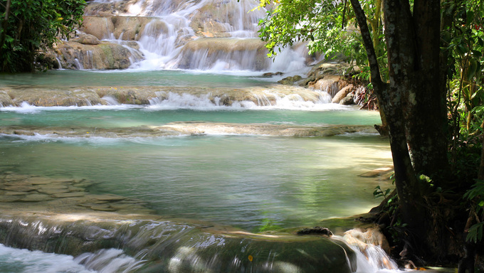 A view of some Jamaican waterfalls.