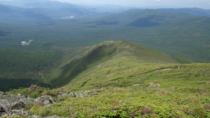 View along the Jewel trail which goes to the top of Mt. Washington in the White Mountains of New Hampshire. The view is during the summer