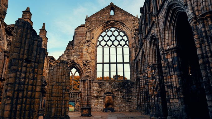 Holyrood Abbey in Edinburgh United Kingdom.