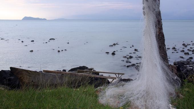 Boat and fishing net on the palm tree in Upolu island, Samoa