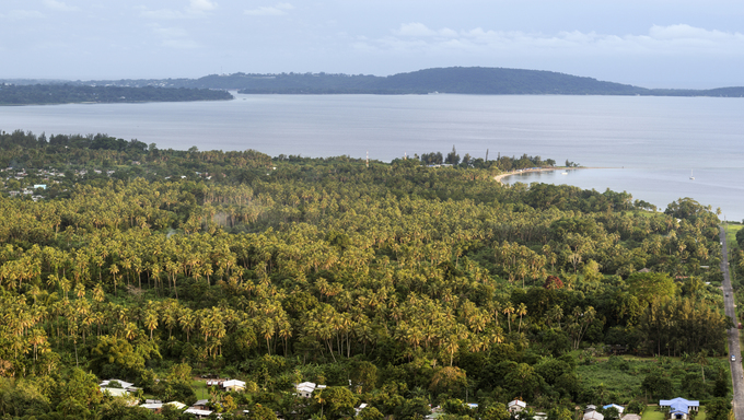 Efate, Vanuatu - afternoon panorama with Hideway Island and Port Vila in the background.