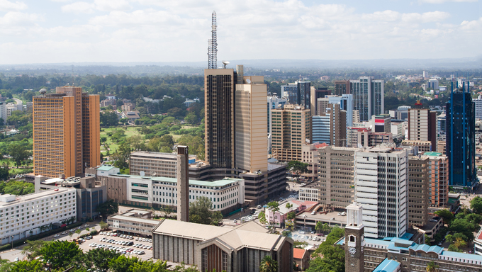 Ariel view of Nairobi, the capital city of Kenya.