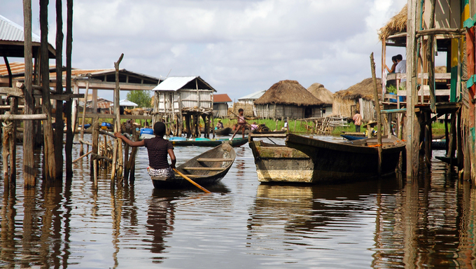 Boats in the stilt village of Ganvie, Benin.