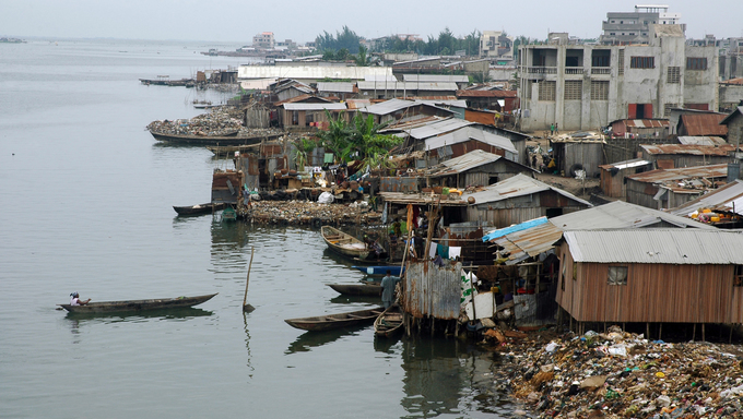 Houses along the waterfront in Cotonou, Benin.