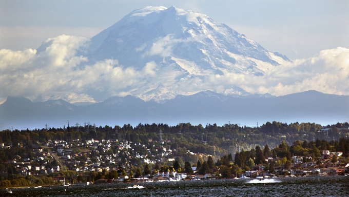 Mount Rainier from Lake Washington Seattle.