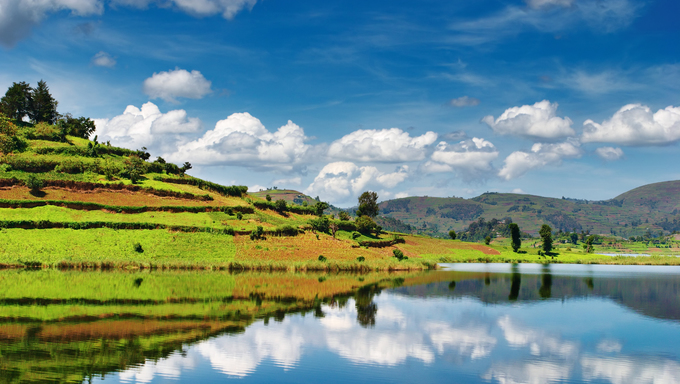 Beautiful mountain lake Bunyonyi in Uganda