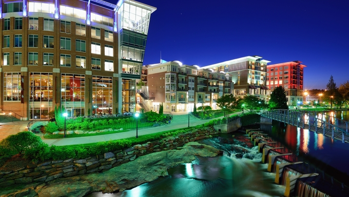 Greenville, South Carolina at Falls Park in downtown at night.