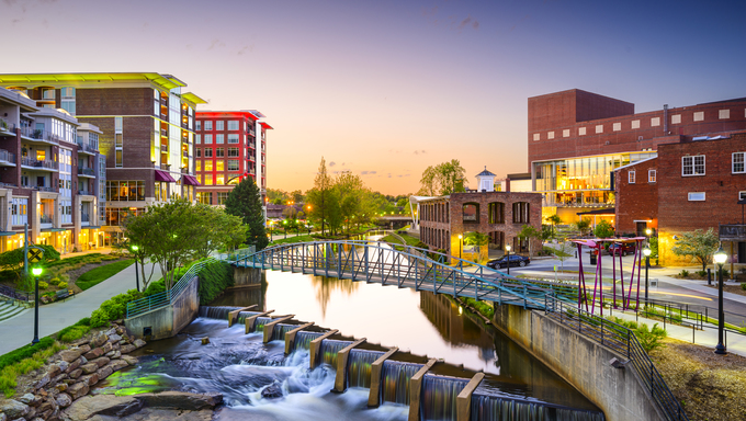 Greenville, South Carolina town cityscape.