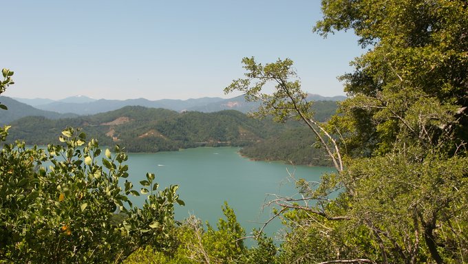Shasta Lake is a reservoir created by the building of Shasta Dam in California, USA. Shasta Lake is the 3rd largest lake in California. Near Sacramento.