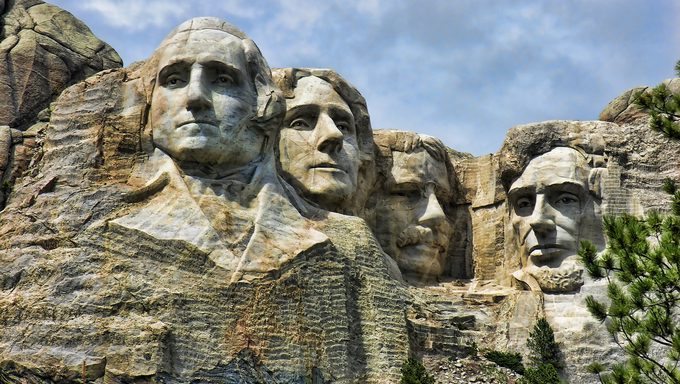 Detail of Mount Rushmore, South Dakota.