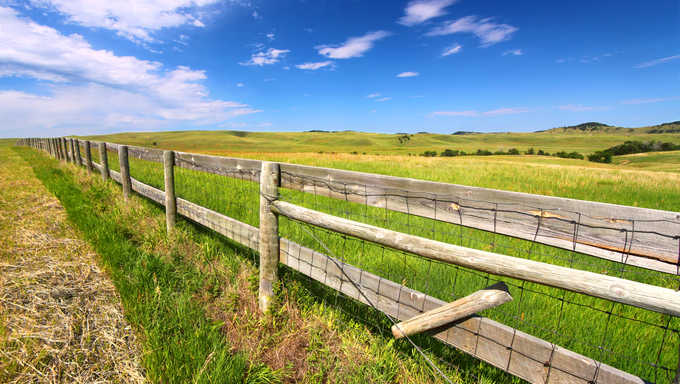 Prairie fenceline in South Dakota.