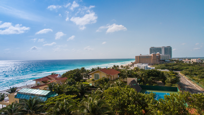 Areal view of resort zone in Cancun, Mexico.