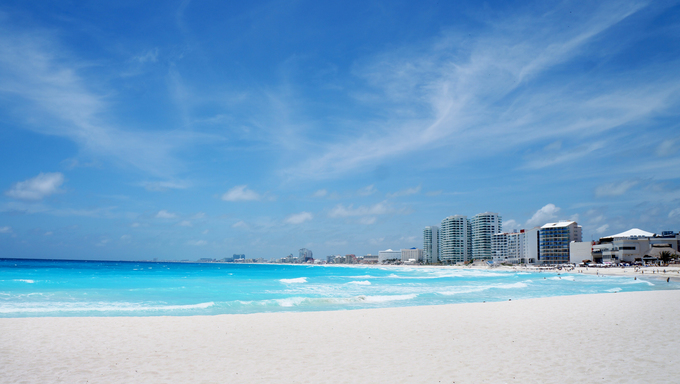 Beach in Cancun, Mexico.
