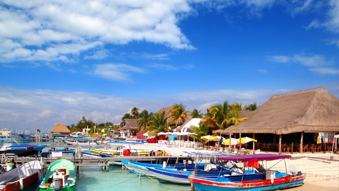 Isla Mujeres island dock port pier colorful Mexico Cancun.