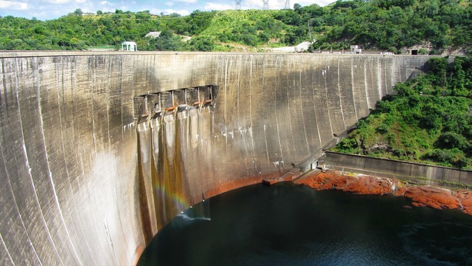 Kariba Dam looking from Zimbabwe side to Zambia.
