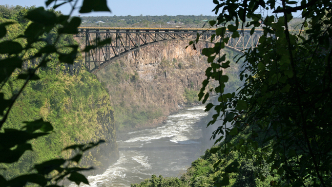 The Zambezi River Gorge showing the road bridge between Zambia and Zimbabwe.