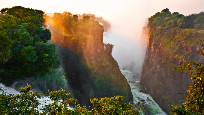 The Victoria Falls at the border of Zimbabwe and Zambia.