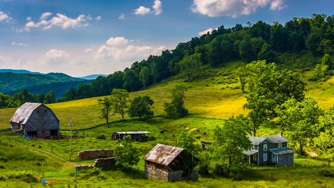 View of a farm in the rural Potomac Highlands of West Virginia.