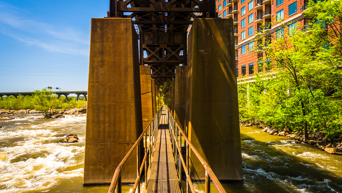 The Pipeline Walkway over the James River in Richmond, Virginia.