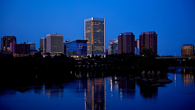 The Richmond skyline at night.