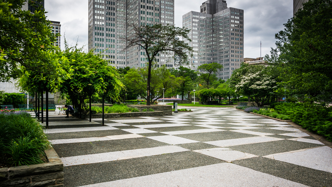 Gateway Center Park in downtown Pittsburgh, Pennsylvania.