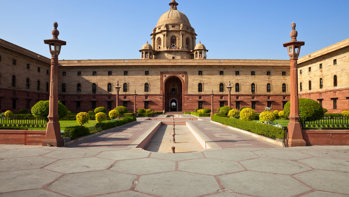 One of the many entrances to Rashtrapati Bhavan, the Presidential House in New Delhi, India.