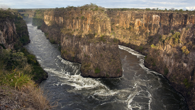 The Zambezi River gorging near Victoria Falls.