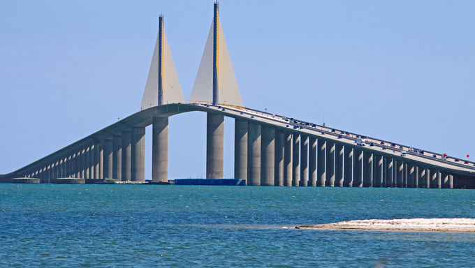 A view of the Sunshine Skyway Bridge.
