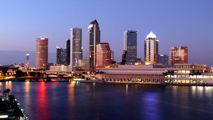 Tampa Skyline - Panoramatic night view of modern skyscrapers.