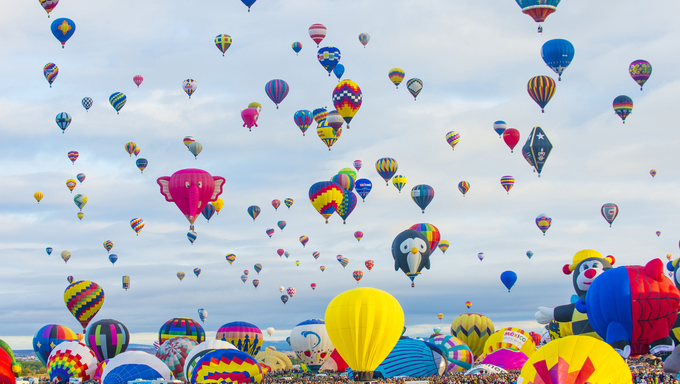 Balloons fly over Albuquerque in New Mexico. Albuquerque balloon fiesta is the biggest balloon event in the world.