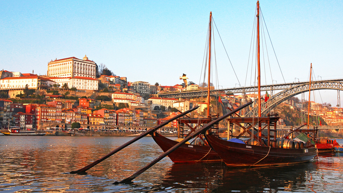 Portugal. Porto city. View of Douro river embankment in the evening