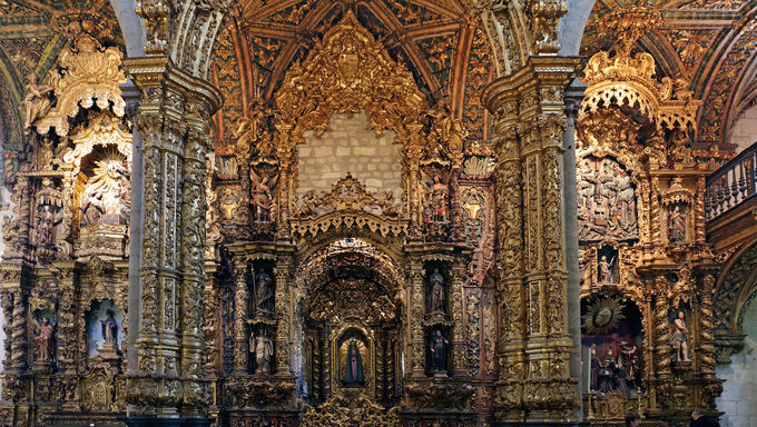 Porto, Portugal - March 23, 2015: Part of lateral altars of San Francisco church (High ISO photo)
