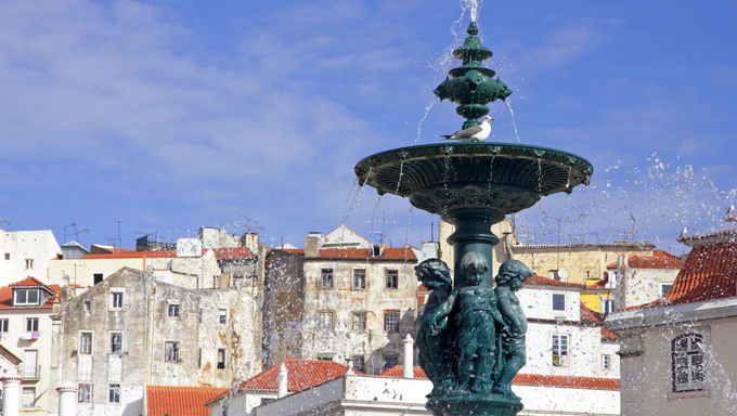 Portugal. Lisbon. The fountain on the  Rossio square