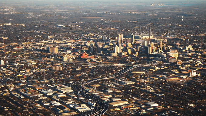 Aerial view of San Antonio, Texas.