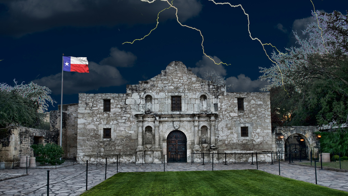 A stormy night at the Alamo ,San Antonio,Texas.