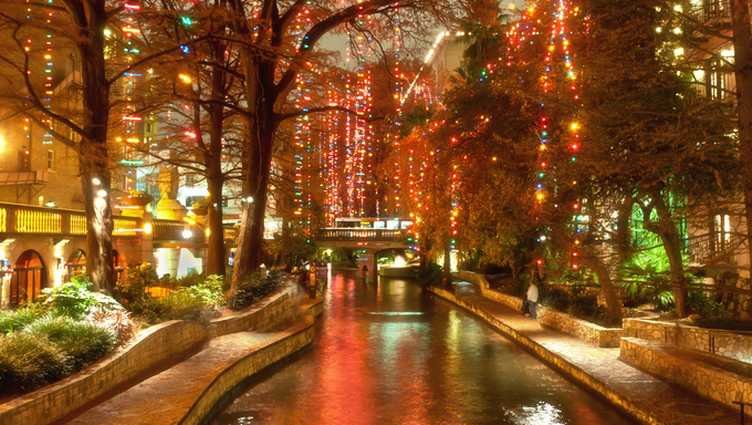Christmas lights at riverwalk in San Antonio, Texas, USA.