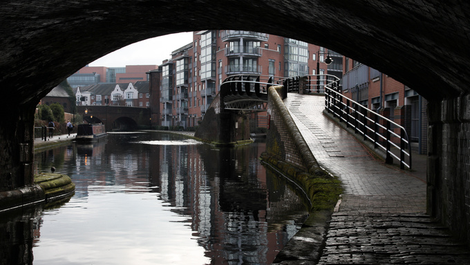 Birmingham water canal network. Early morning view of waterways. West Midlands, England.