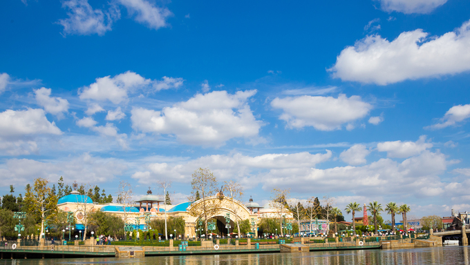 Anaheim, California, USA - February 5, 2014: Lake at California Adventure in Disneyland.