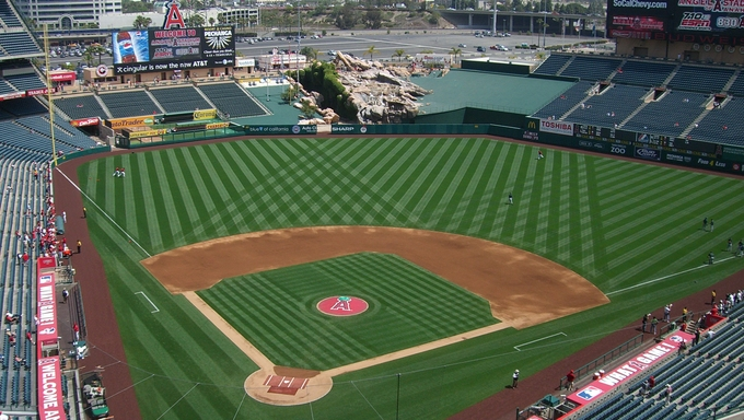 Sunny day baseball game at Angel Stadium