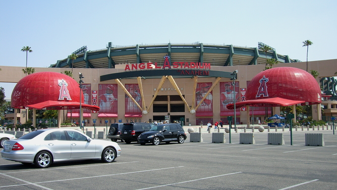 Angels fans head for the gates befoe a daytime baseball game