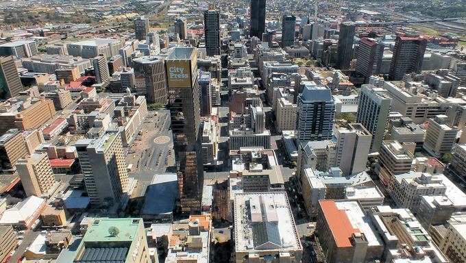 Johannesburg city centre from the top of the Carlton Building